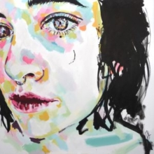getting closer, sophie bastien, portrait, acrylics, ink