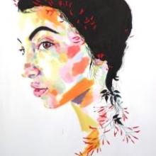 hiding from you, sophie bastien, acrylic, portrait, canvas, ink